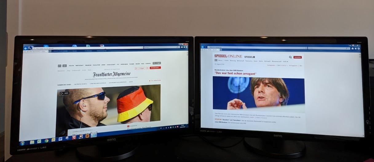 Arbeiten mit zwei Monitoren