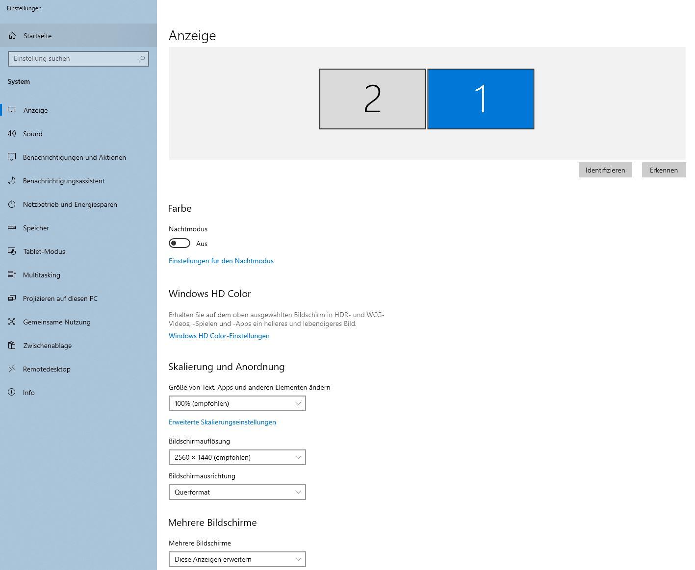 Anzeige Windows 10