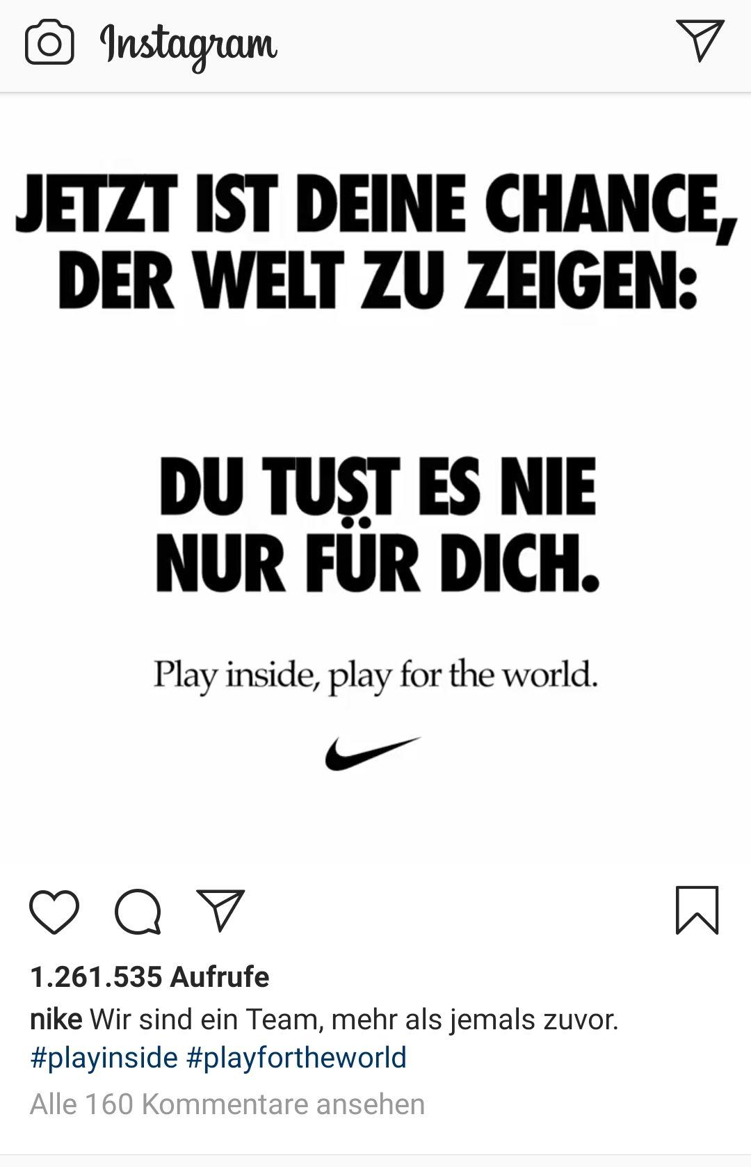 Nike Instawerbung Corona