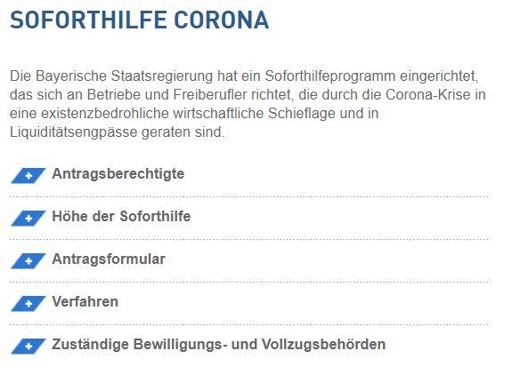 Soforthilfe Corona Bayern