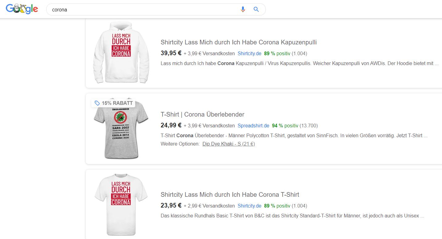 Corona Google Shopping