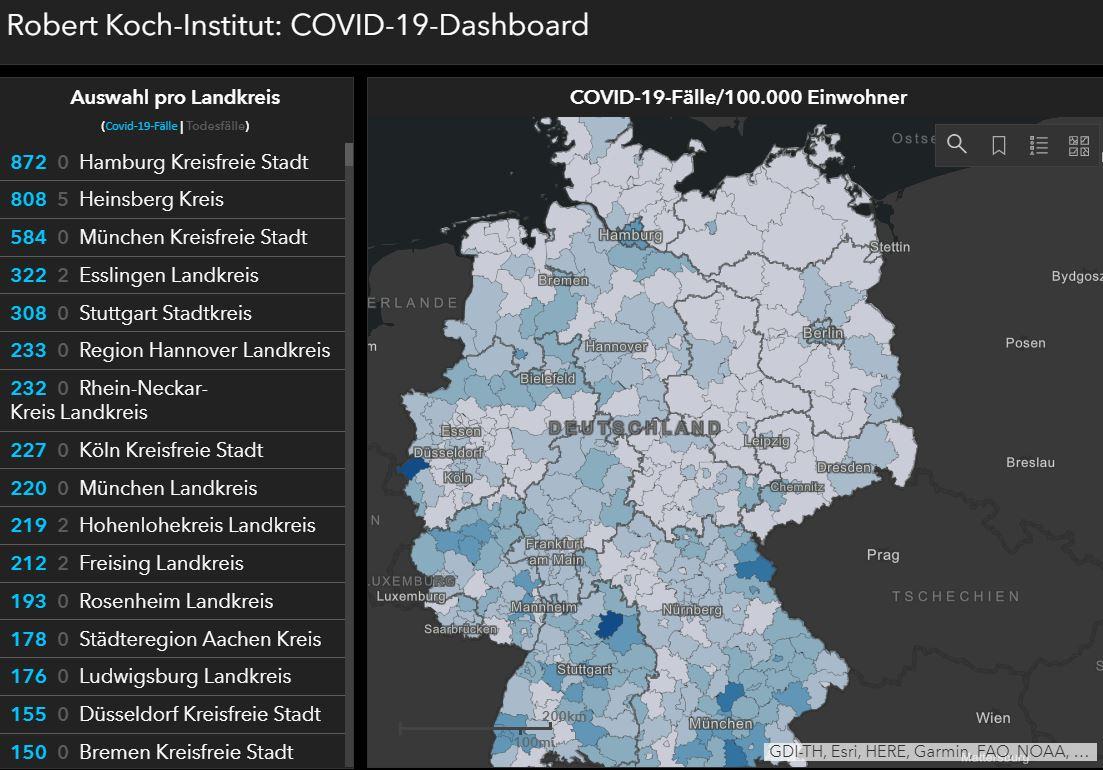 Karte Robert Koch Institut Landkreisebene